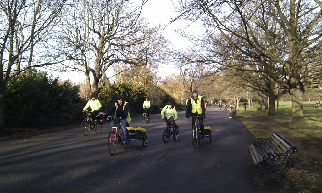 Riding in Regents Park with our Trailers